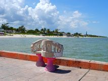 Panorama dell'oceano e della spiaggia nel Messico Telchuc Fotografie Stock Libere da Diritti