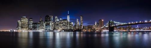 Panorama dell'orizzonte del centro di Manhattan fotografia stock libera da diritti