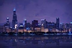 Panorama dell'orizzonte del Chicago Fotografie Stock
