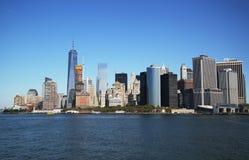 Panorama dell'orizzonte del Lower Manhattan Immagini Stock Libere da Diritti