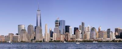 Panorama dell'orizzonte del Lower Manhattan Fotografie Stock