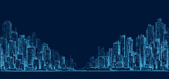 Panorama dell'orizzonte della città alla notte, paesaggio urbano disegnato a mano, illustrazione di disegno di architettura Fotografie Stock