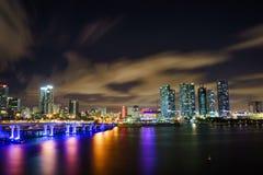 Panorama dell'orizzonte della città di Miami al crepuscolo con i grattacieli ed il ponte urbani sopra il mare con la riflessione Fotografie Stock