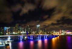 Panorama dell'orizzonte della città di Miami al crepuscolo con i grattacieli ed il ponte urbani sopra il mare con la riflessione Immagini Stock