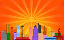 Panorama dell'orizzonte della città di Seattle Washington Fotografie Stock Libere da Diritti