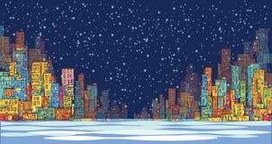 Panorama dell'orizzonte della città, paesaggio della neve di inverno alla notte, paesaggio urbano disegnato a mano, illustrazione Fotografia Stock
