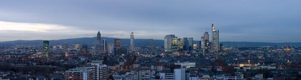 Panorama dell'orizzonte di Francoforte Fotografie Stock