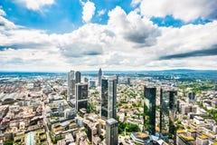 Panorama dell'orizzonte di Francoforte sul Meno, Germania Fotografia Stock