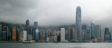 Panorama dell'orizzonte di Hong Kong fotografia stock libera da diritti