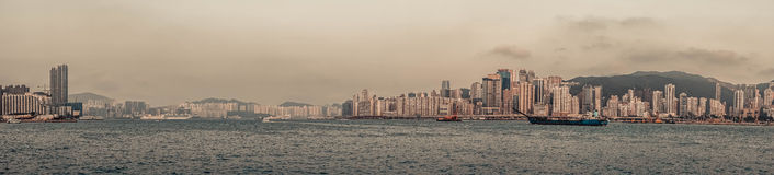 Panorama dell'orizzonte di Hong Kong Immagini Stock