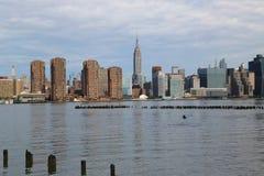 Panorama dell'orizzonte di Manhattan di Midtown Fotografie Stock
