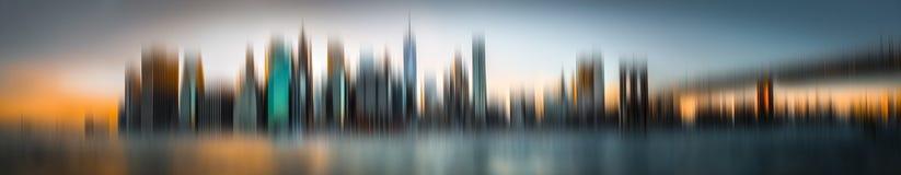 Panorama dell'orizzonte di Manhattan vago estratto Fotografia Stock