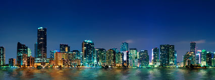 Panorama dell'orizzonte di Miami Fotografie Stock Libere da Diritti