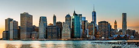 Panorama dell'orizzonte di New York Fotografia Stock Libera da Diritti