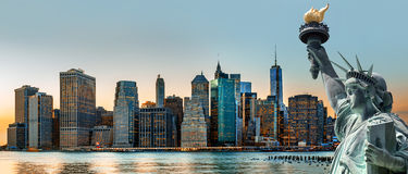 Panorama dell'orizzonte di New York Immagine Stock Libera da Diritti