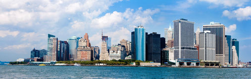 Panorama dell'orizzonte di New York City Immagine Stock Libera da Diritti