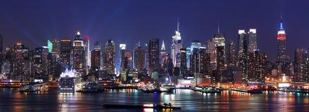 Panorama dell'orizzonte di New York City Manhattan Immagine Stock