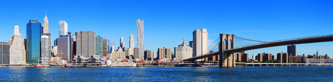 Panorama dell'orizzonte di New York City Manhattan Fotografia Stock Libera da Diritti