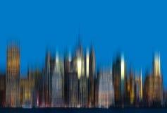 Panorama dell'orizzonte di New York di primo mattino Immagini Stock Libere da Diritti