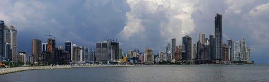 Panorama dell'orizzonte di Panama City Fotografia Stock Libera da Diritti