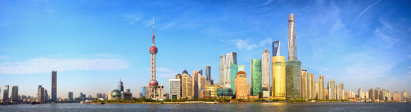 Panorama dell'orizzonte di Shanghai Fotografia Stock Libera da Diritti