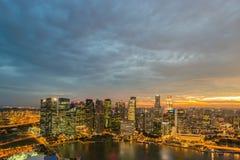 Panorama dell'orizzonte di Singapore del centro Immagini Stock