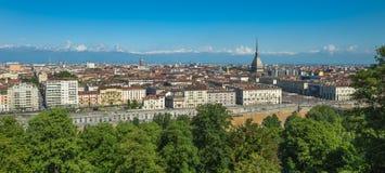 Panorama dell'orizzonte di Torino Fotografia Stock