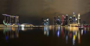 Panorama dell'orizzonte e del fiume di Singapore Fotografie Stock Libere da Diritti
