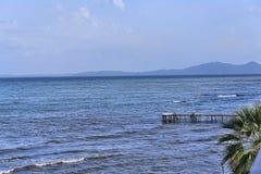Panorama della baia alla città di Corfù sull'isola greca di Corfù Fotografie Stock