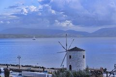 Panorama della baia alla città di Corfù sull'isola greca di Corfù Immagini Stock Libere da Diritti