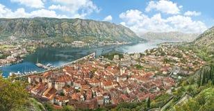 Panorama della baia di Cattaro Fotografia Stock