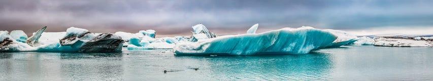 Panorama della baia di ghiaccio in Islanda immagini stock