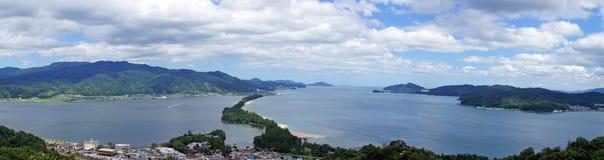 Panorama della barra di sabbia di Amanohashidate Fotografie Stock Libere da Diritti