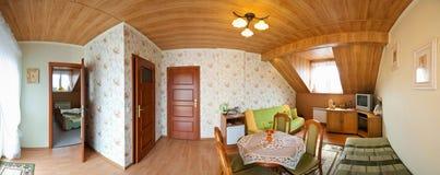 Panorama della camera da letto Fotografie Stock Libere da Diritti