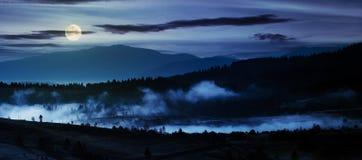 Panorama della campagna alla notte Fotografia Stock