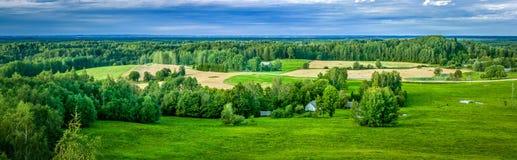 Panorama della campagna del campo verde Fotografia Stock
