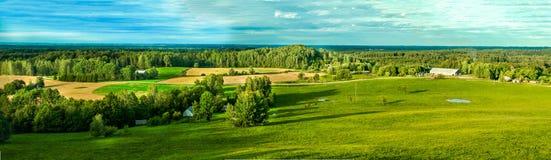 Panorama della campagna del campo verde Fotografie Stock Libere da Diritti