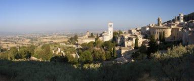 Panorama della campagna dell'Umbria e di Assisi immagine stock