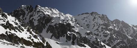 Panorama della catena montuosa di Woloszyn Fotografie Stock