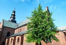 Panorama della chiesa di Ystad immagini stock
