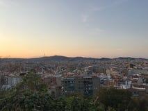 Panorama della città da Montjuic, Barcellona, Spagna, Europa, immagine stock