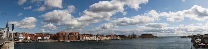 Panorama della città danese Sønderborg (Sonderburg) Immagine Stock
