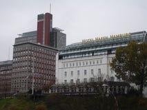 Panorama della città di Amburgo Hotel Hafen Amburgo Fotografia Stock Libera da Diritti
