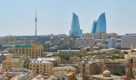 Panorama della città di Bacu Immagini Stock