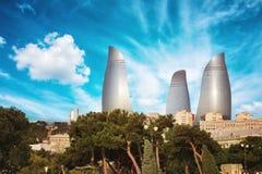 Panorama della città di Bacu, Azerbaigian Fotografie Stock