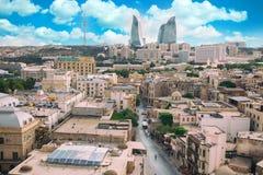 Panorama della città di Bacu, Azerbaigian Fotografia Stock Libera da Diritti
