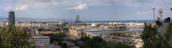 Panorama della città di Barcellona Immagini Stock Libere da Diritti