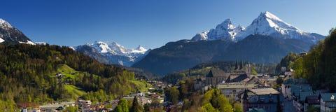 Panorama della città di Berchtesgaden Fotografia Stock Libera da Diritti