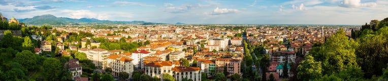 Panorama della città di Bergamo Immagine Stock Libera da Diritti