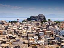 Panorama della città di Corfù Immagini Stock Libere da Diritti